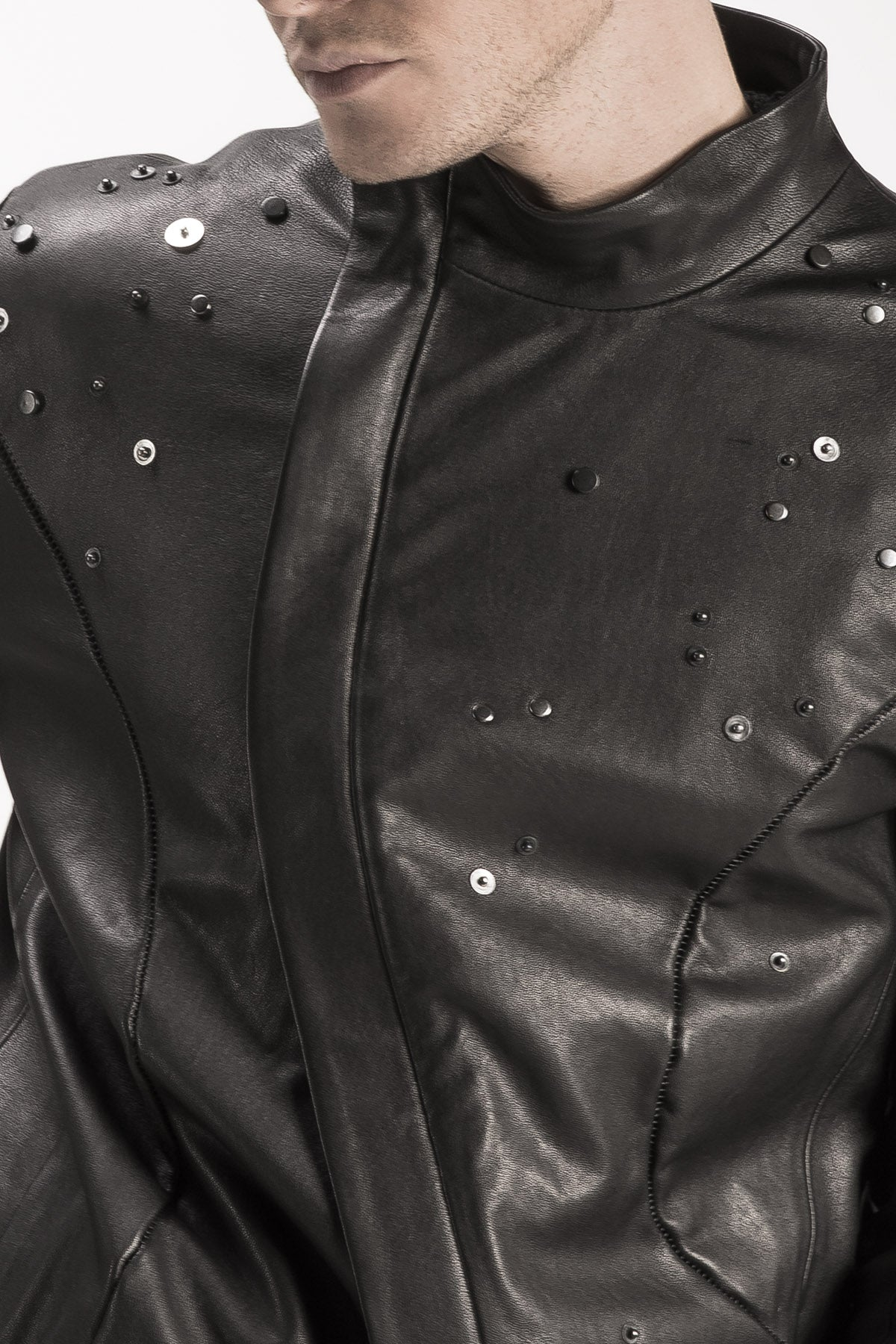 Detailed Leather Coat