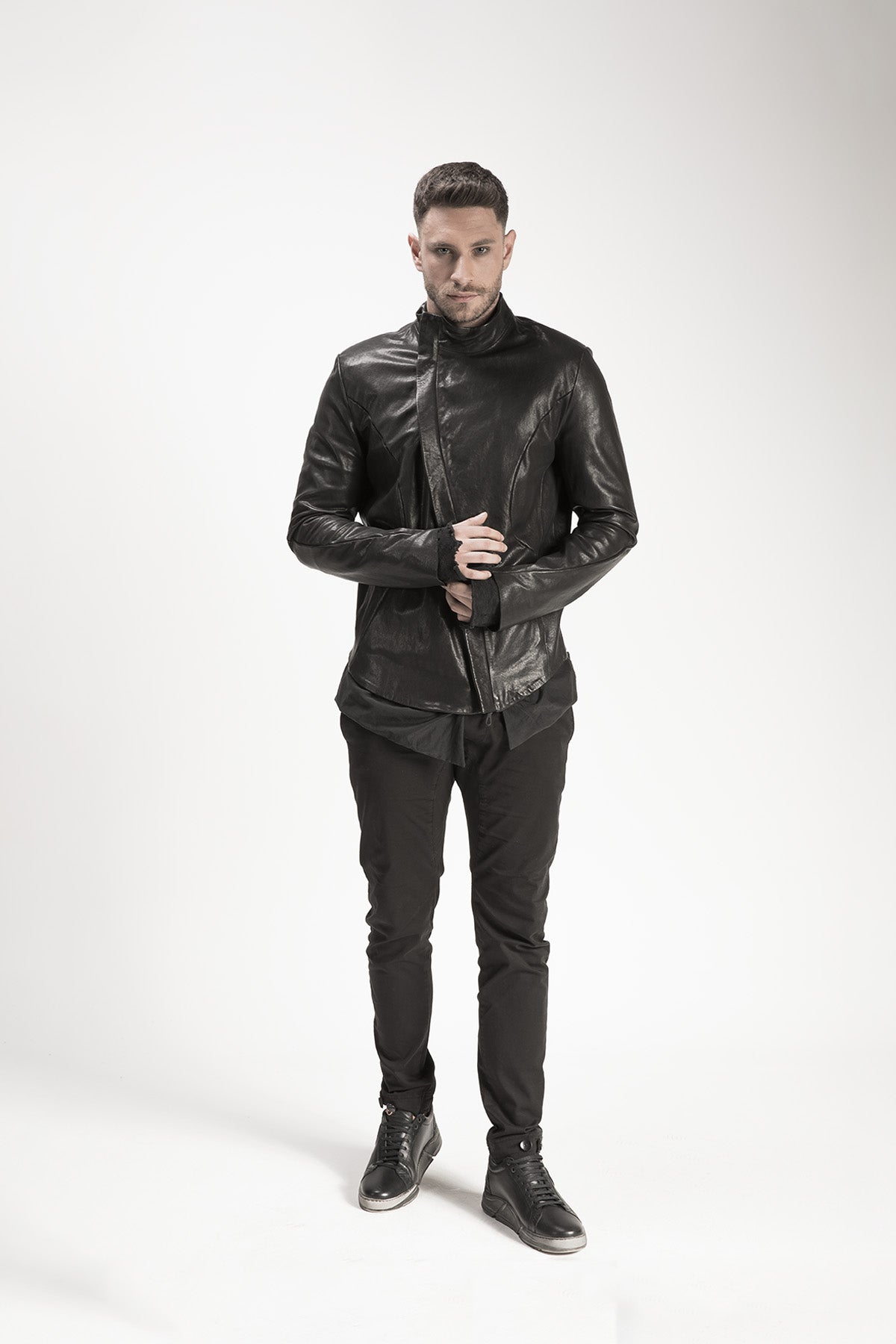 Leather Zippered Coat