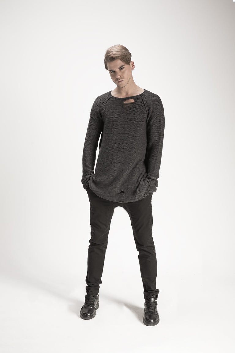 Long Sleeves Torn Sweater //BM16-3005-2