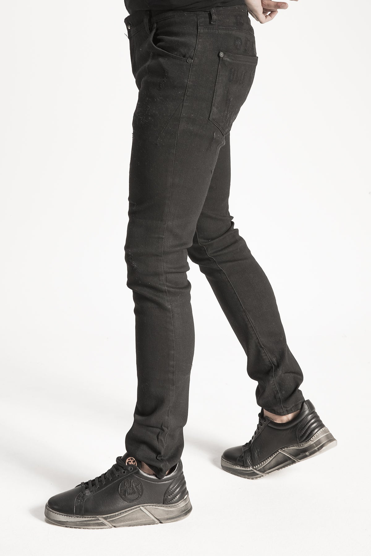 Black Worn Look Denim Pants