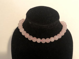 Collier de perles naturelles 8mm en Quartz rose avec fermoir mousqueton