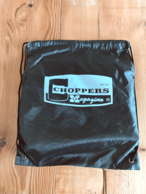 Choppers Badge Drawstring Backpack, Black