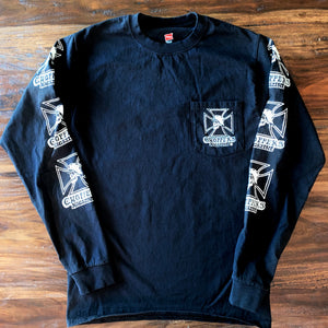Black long sleeve pocket-T with classic Skull and Maltese Cross
