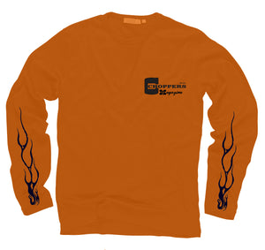 Orange Long Sleeve Chopper Wheelie Tee