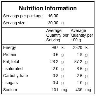 Chilli Oil Nutrition Information