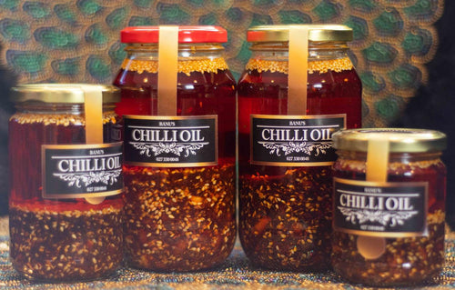 Variety of Banu's Chilli oil sizes