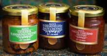 Load image into Gallery viewer, Selection of 3 chutneys: ginger & tamarind, tamarind & date, chilli & tamarind.
