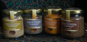 Selection of 4 spice powders.