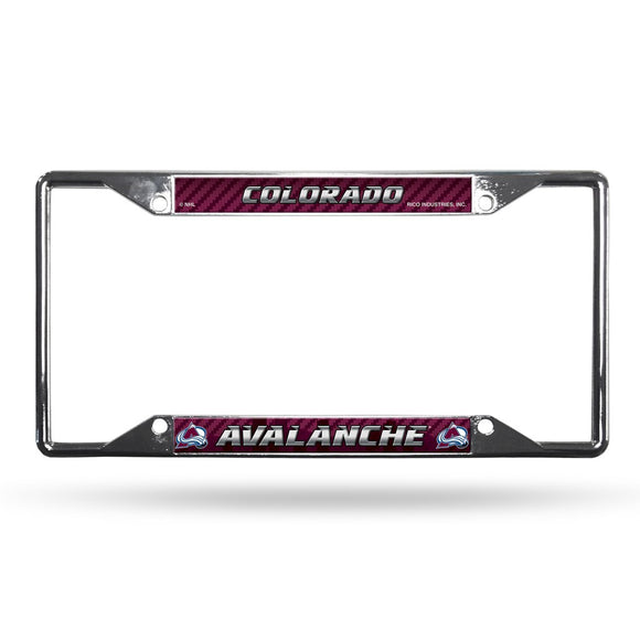 Colorado Avalanche License Plate Frame Chrome EZ View