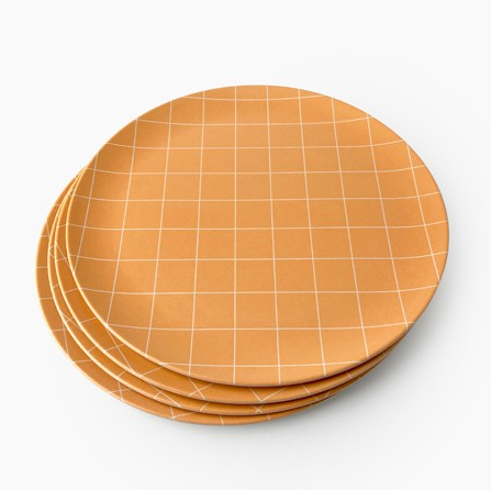 Ensemble de 4 grandes assiettes - Quadrillé orange