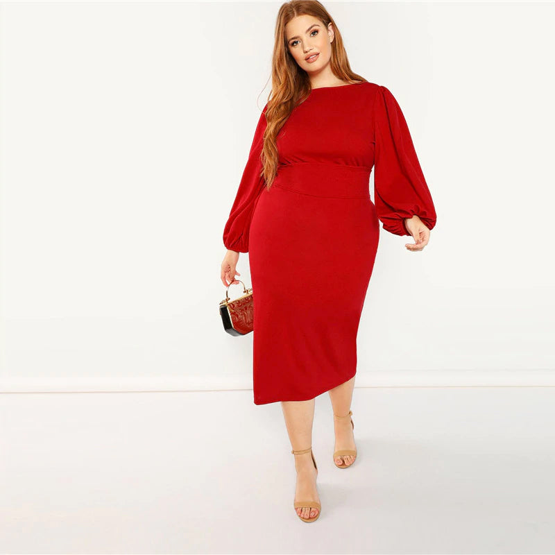 8d28aeeb6b2 Red Plus Size Lantern Long Sleeve High Waist Elegant Bodycon Pencil Dr –  Witchday Store