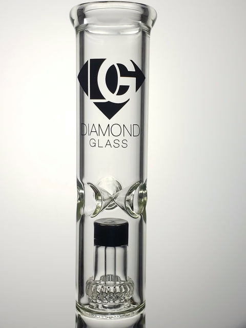 "Diamond glass 14"" straight tube with black downstem diffuser and black cap shower-head"