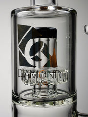 "Diamond Glass 12"" Dual chamber step-down can with black fritted perc and shower-head"