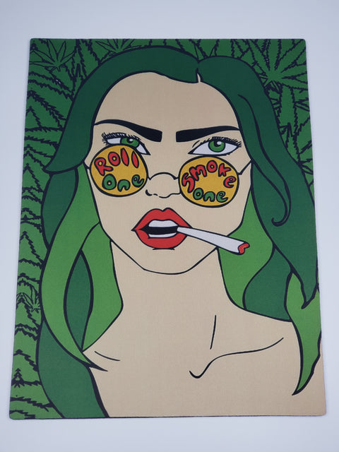 Glass mat with smoking girl print