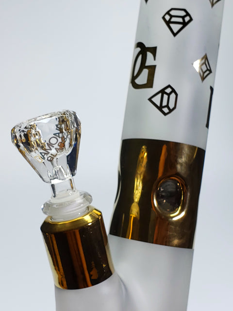 Diamond Glass 15'' gold and white straight tube