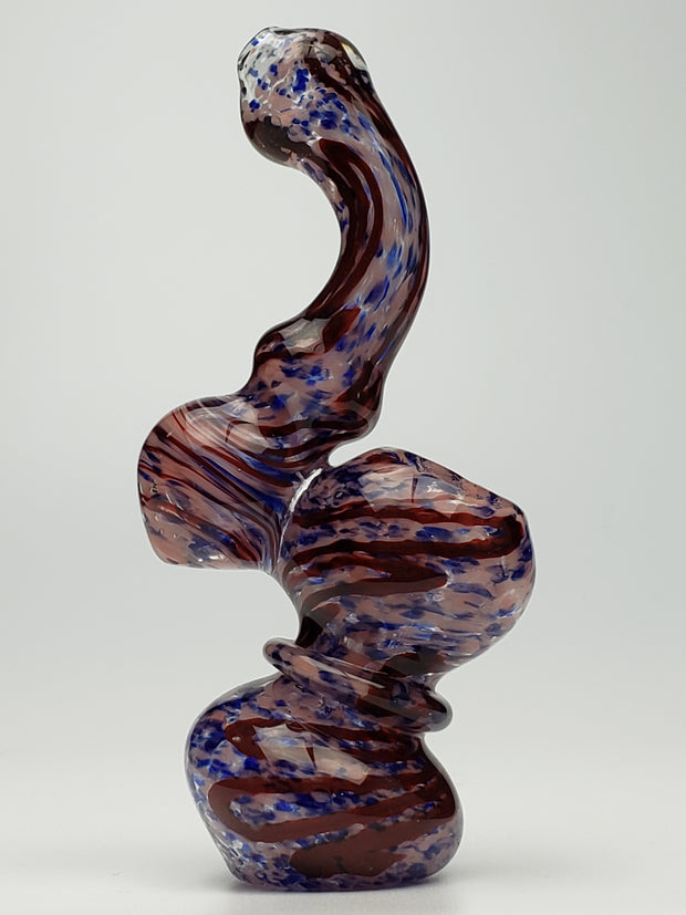 Pink red and blue spotted sherlock bubbler