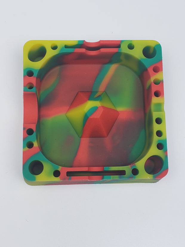 Silicone ash tray with multiple holders