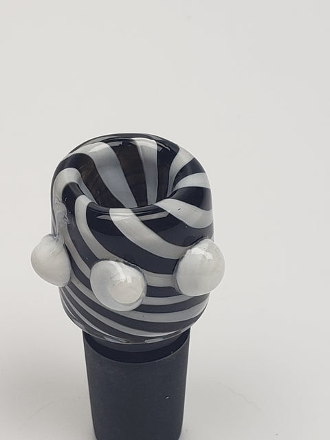 18mm Male black and white swirled bowl with white marbles