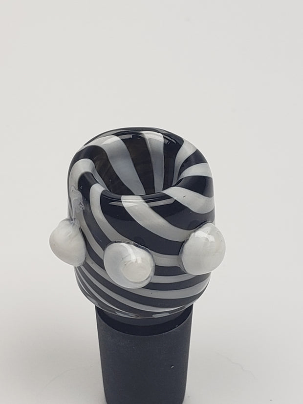 14mm Male Black and white swirled bowl with white marbles