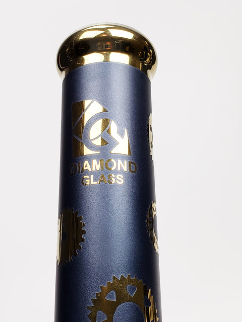 Diamond glass 15'' blue and gold straight tube