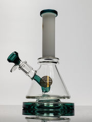 "8"" Bougie green mini beaker with white neck"