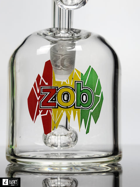 "7"" Zob bubbler with rasta print and recessed joint"