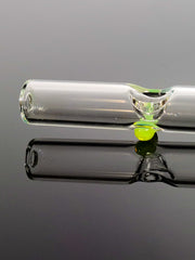 Mathematix clear glass steamroller pipe with slime green marbles