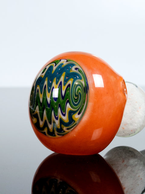 Mathematix 6'' white pipe with orange head with design