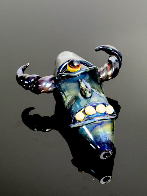 6'' Creature pipe with horns and worked face