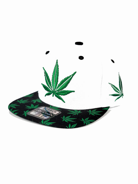 White snapback with green canna leaf