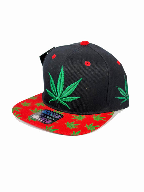Black snapback with green canna leaf and red bill