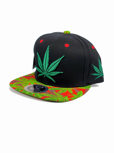 Black canna forest green/red snapback