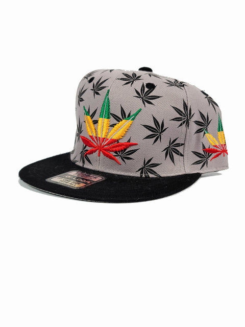 Grey snapback with rasta and black canna leaves