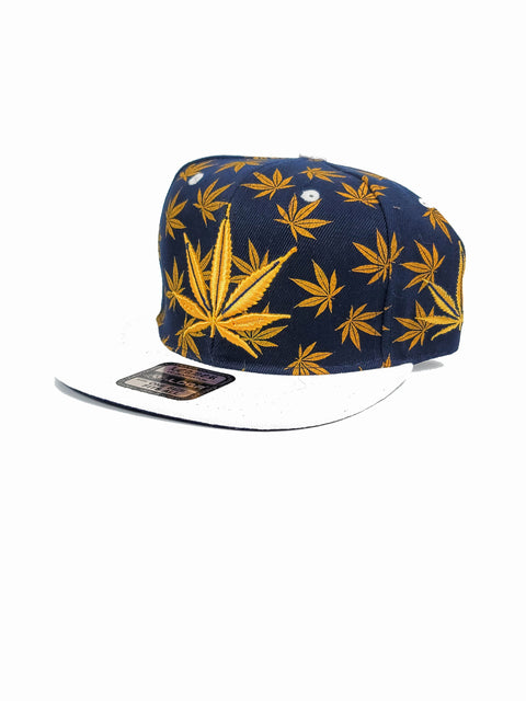 Blue snapback with gold canna leaves