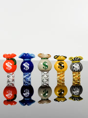 "Money Bag Spinner caps by artist ""Just Another Glass Blower"""