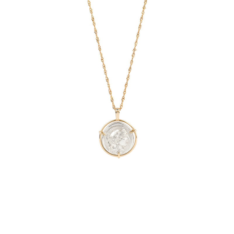 Athena Medal Necklace gold chain