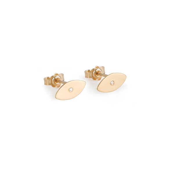 Luckyeye stud Earrings mat gold