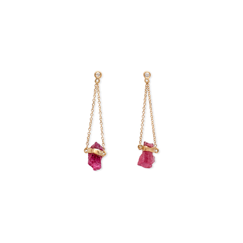 Rainbow Diamond earrings Pink