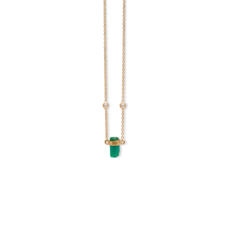 Rainbow Diams Emerald Necklace