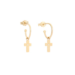 Small Cross charms hoop Earrings