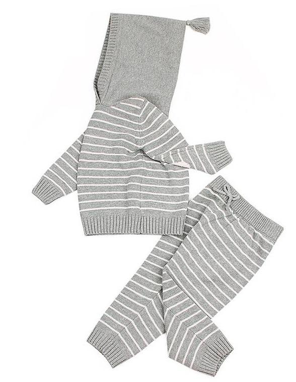 Knit Two Piece Set With Hood, Stripe Pattern
