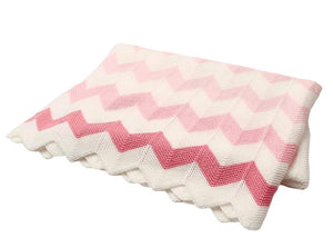 Knit Pink and White Pattern Blanket