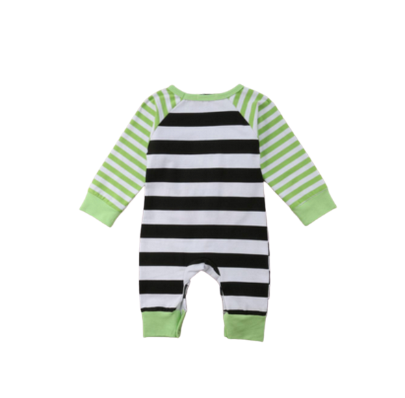 Stripped Romper Long Sleeve With Pumpkin Face