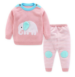 Knit Elephant Two Piece Outfit in Cotton Candy Pink