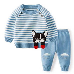 Knit Puppy Two Piece Outfit