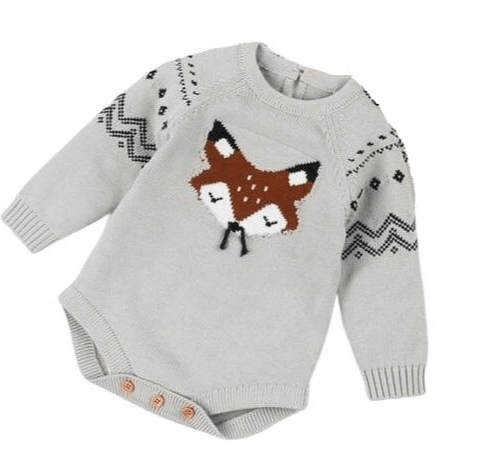 Knit Long Sleeve Fox Face Romper