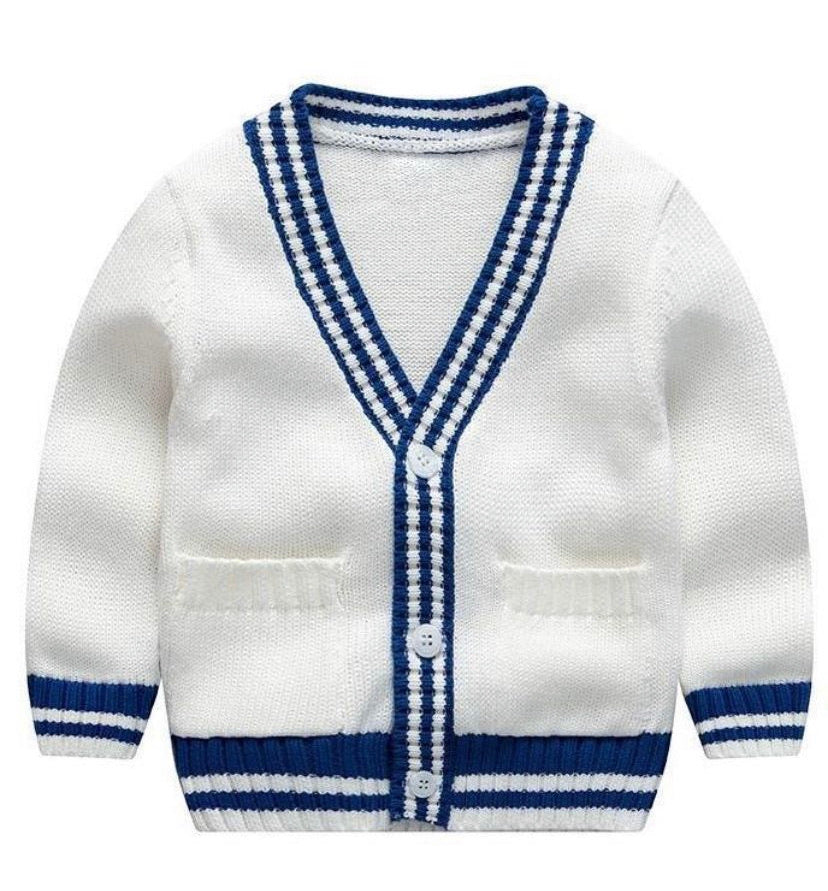 Blue and White Striped Cardigan With Button Down