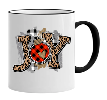 JOY festive leopard and plaid print 11 ounce mug!