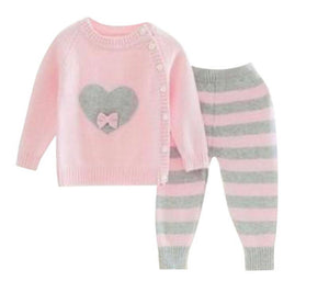 Knit Two Piece Set With Heart