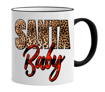 Santa Baby with a leopard and plaid print 11 ounce mug!